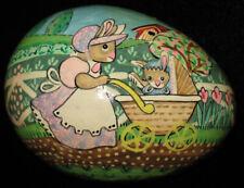 Vintage Papier Mache Easter Egg Trinket Box Anthro Rabbit Bunny Baby Carriage