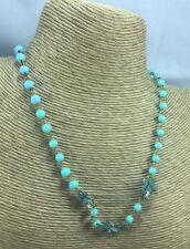 Vintage Necklace Glass Turquoise & Enamel Rhinestone Flower Brass Linked Choker