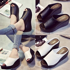 Women Sponge Cake Thick High Heel Shoes Flip-flops Sandal Clog Slippers Open Toe