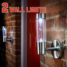 2 Stainless Steel  Solar Powered Wall Lights Lamp Outdoor Garden Patio Lantern