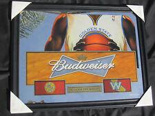 Budweiser Golden State Warriors Mirror Beer Sign bar Bud Light pub Basketball