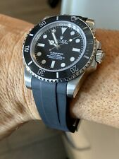 20mm BLACK Vulcanized Rubber Strap Band Fits Rolex Watches Submariner 116610
