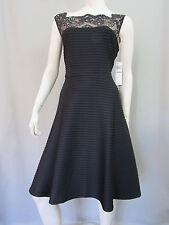 London Style Nights Dress Size 14 Black Lace Cocktail Sleeveless Stretch