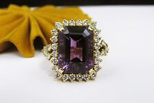 18k Yellow Gold Emerald Cut Russian Amethyst Diamond Ladies Cocktail Ring