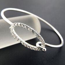 BANGLE BRACELET CUFF 925 STERLING SILVER S/F DIAMOND SIMULATED DESIGN FS3A811