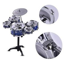 Children Jazz Blue Drum Set Kit Drums + 1 Cymbal & Small Stool Drum Sticks Hot