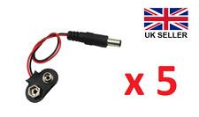 5 X PP3 9 V Batería Clip/Snap a DC 2.1 Mm x 5.5 mm conector jack