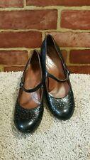 NAYA Castalia Black 8.5N Leather Mary Jane Perforated Pump Heel Shoe Women 2451