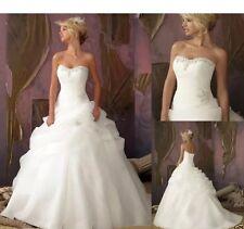 New White/Ivory Organza Wedding Dress Bridal Gown Size 6-16 Uk Seller