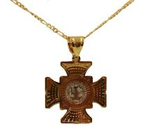 San Benito Cross Pendant 18k Gold Plated with 20 inch Chain -  St Benedict Cross