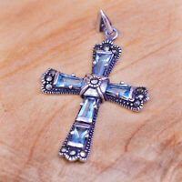 Vintage Sterling 925 silver handmade cross pendant with blue topaz Marcasite