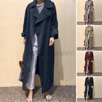 Womens Long Windbreaker Overcoat Trench Coat Jacket Outerwear Cardigan Plus Size