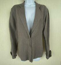 Eileen Fisher Brown Irish Linen Blazer Jacket 1 Button 2 Pockets Womens L 12 14