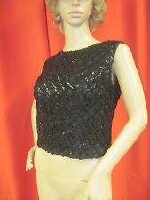 Vintage 1950's 1960's Black Sequins Evening Top A Caldwell Original Size S/M
