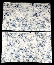 LOT Ralph Lauren King Pillowcase Pair White Blue Rose Floral