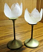 Vtg 2 Pc Frosted Glass Tulip Flower Tealight Candle Holders Brass Metal Base 505