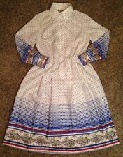 Women's Rare Vintage Designer 1950s Lanvin Polka Dot Dress, Multicolor, Size 12