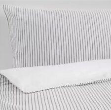 Ikea Rodnarv Double Duvet Set, 200x200 cm, 4 Pillowcases, Grey & White Striped,
