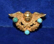 VINTAGE c.1910 14K GOLD ANGEL & WINGS W/ 3 TURQUOISE CABOCHONS PIN 1.8g (J297)