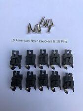 10 American Flyer XA13C067 Couplers (Split Shank Knuckle) & 10 Split Rivets Ten