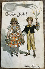 Vintage Swedish Postcard Children Hold Hands Candles God Jul Jenny Nystrom FLAWS