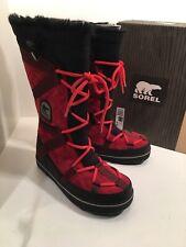 SOREL Glacy Explorer Women 8 Christmas Red Suede Tall Winter Snow Boots 4 ROWAN