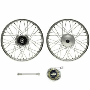 """Honda CG125 Front Wheel 18"""" with Drum Brake and Spindle Chrome Rim"""