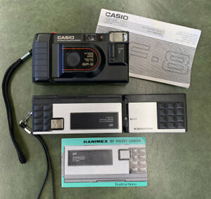 2 Vintage Retro 1980s 35mm Film Cameras Casio EF-8 Hanimex IEF Pocket Flash Exc