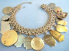 VINTAGE 12K GOLD FILLED HEAVY WIDE CHARM BRACELET  LOADED GORGEOUS LEO FLOWER