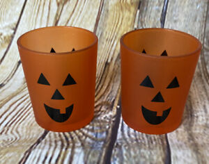Set of 2 Crate & Barrel Pumpkin Jack O'Lantern Tealight Holders Frosted Glass
