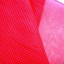 "4 YDS VINTAGE SHEER FABRIC RED YELLOW POLKA DOTS PRINTED DOTTED SWISS 37"" WIDE"