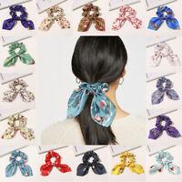 XMAS Print Ponytail Scarf Bow Elastic Hair Rope Tie Scrunchies Ribbon Hair Bands