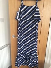 M & S Maxi Summer Dress Blue/white stripe size 10  BNWT