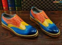Retro Men Dress Brogues Wing Tip Carved Lace Up Formal Multi Color Casual Shoes