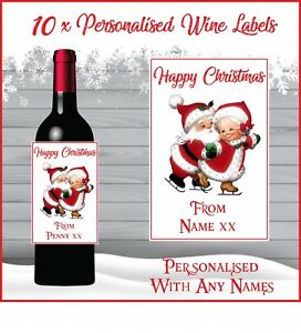 10 Personalised Santa Christmas Wine Bottle Labels for gift or Table Decorations