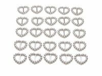 100 SILVER PEARLISED HEART SHAPED RIBBON SLIDER BUCKLES  FOR WEDDING INVITES