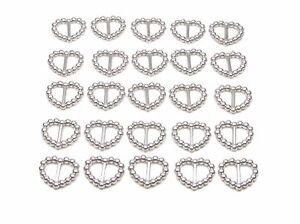 50 SILVER  PEARLISED HEART SHAPED RIBBON SLIDER BUCKLES - FOR WEDDING INVITES