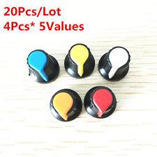 20Pcs 5Value 6mm WH148 potentiometer knob cap Kit Yellow Blue white red 15*17mm