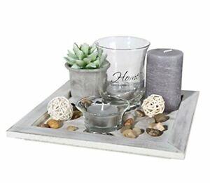 Tischdeko Decor Teller Wohnzimmer Dekoration mit Home Deko Aufschrift mit Kerzen