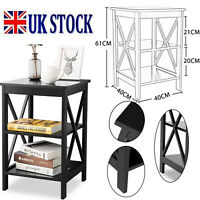 Small Black Side Table End Table Pair Bedside Table 3 Tiers Storage Shelves UK
