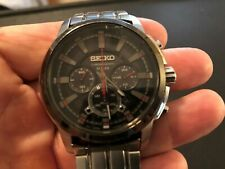 Seiko SSC389 Solar Chronograph Black Dial Stainless Steel Men's Watch