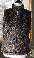 GUESS Brown/Gray Animal Print Reversible Faux Fur Zip Vest S