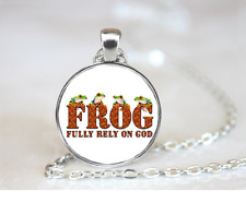 Frog Fully Rely On God PENDANT NECKLACE Chain Glass Tibet Silver Jewellery