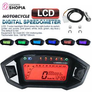 Universal Motorcycle LCD Backlight Digital Odometer Speedometer Tachometer Gauge