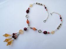 Halskette,Kette,Ypsilonkette,Anhänger groß,Metall,Apricot,Bordeaux,Mix,Silber