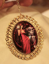 Swirl Rim Goldtone Red Accented 7 Deadly Sins Lust Pendant Necklace Brooch