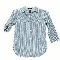 Chaps Denim LINEN BLEND Blouse Sz S Blue White Striped 3/4 Tab Sleeve Shirt Pkts