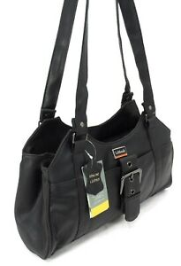 Womens Prime Quality Real Leather Handbag Multi Pocket Buckle Shoulder Bag Purse