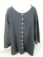Erika Women's Top Tunic Blouse Button Linen 3/4 Sleeve Size 3X [ 56in Bust 28L ]