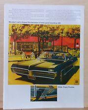 1967 magazine ad for Pontiac - Grand Prix looks good standing still, colorful